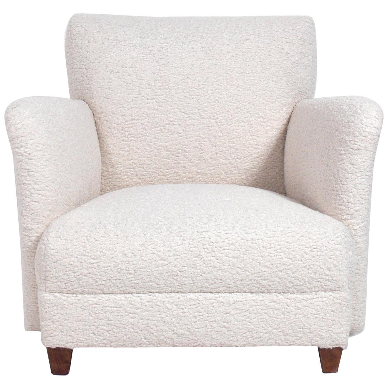 Curvaceous Danish Modern Lounge Chair in Faux Sheepskin