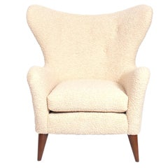 Curvaceous Danish Modern Lounge Chair in Shearling