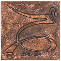 Curvaceous Enamel Wall Art Modern Abstract Metal Artwork in Hand-Hammered Copper