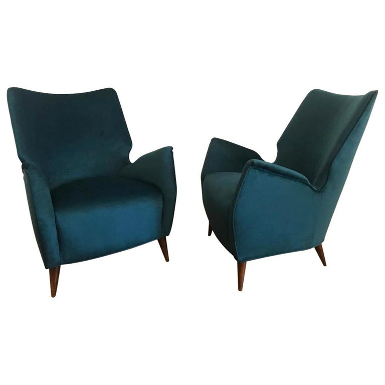 Mid-Century Modern Italian Low Club Chairs For Sale