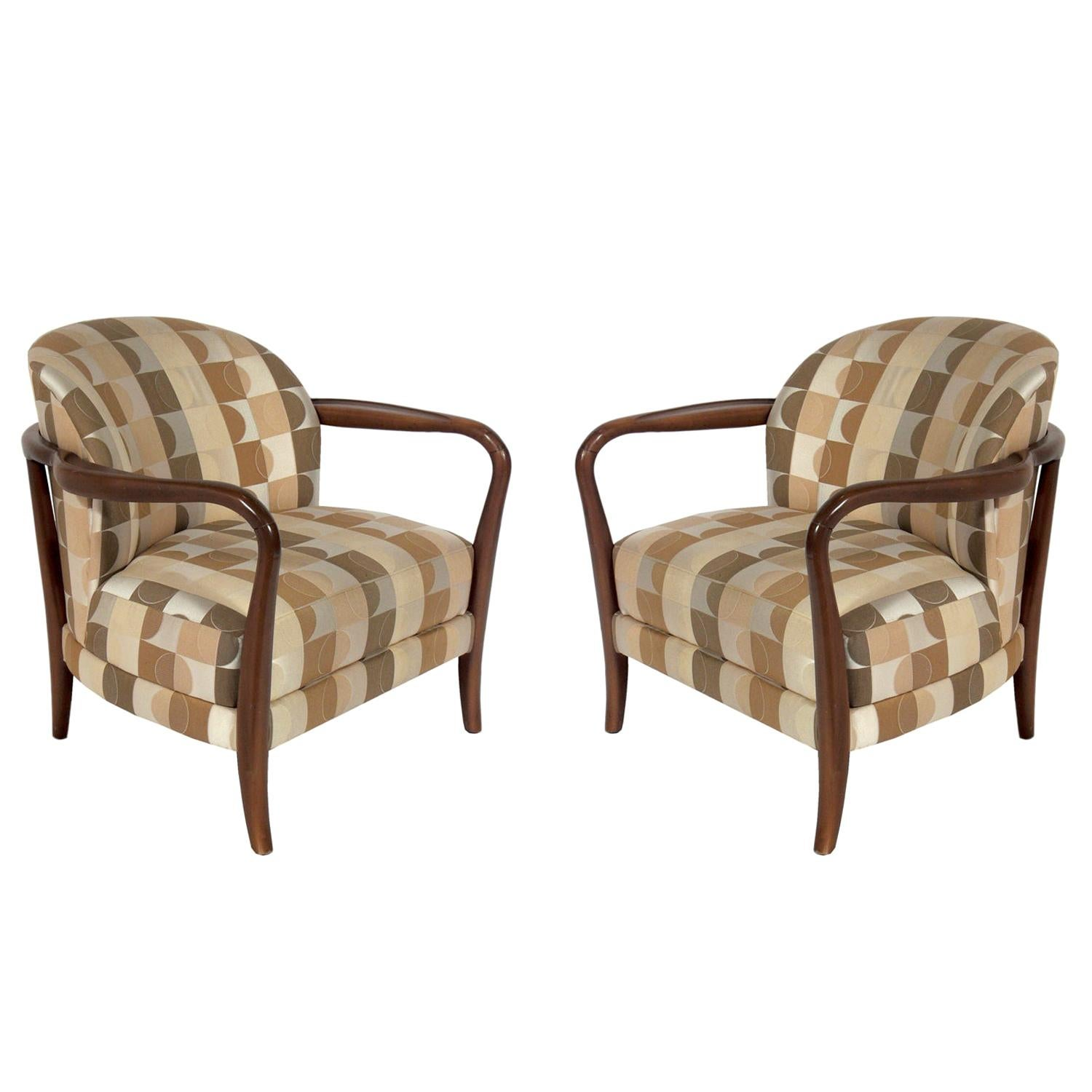 Curvaceous Pair of Lounge Chairs