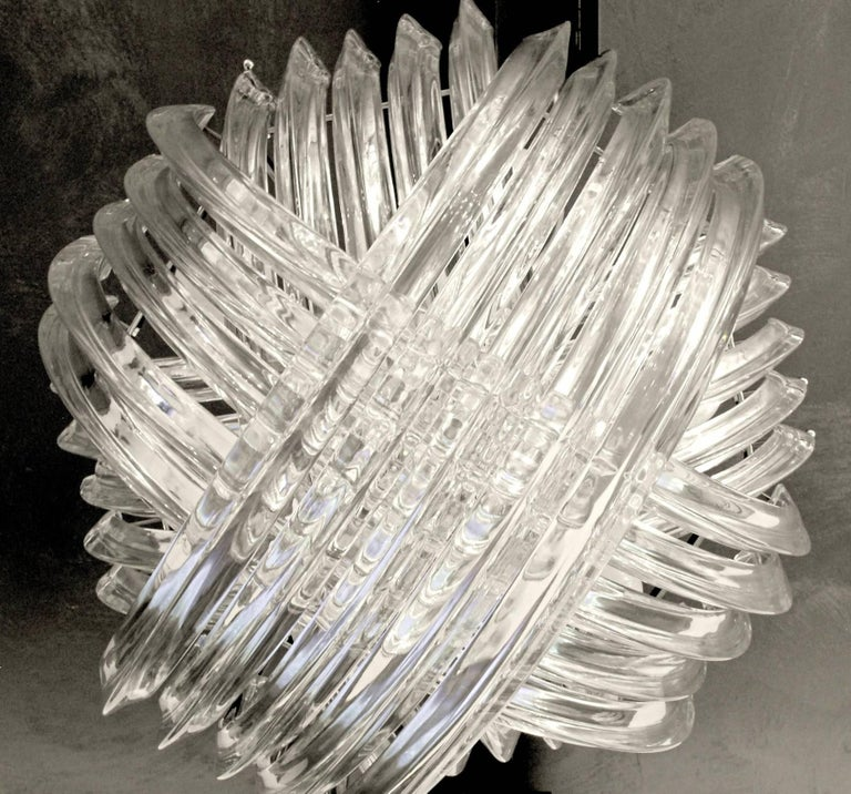 Italian Curvati Murano Chandelier, Clear Crystal Triedri, New Hardware For Sale