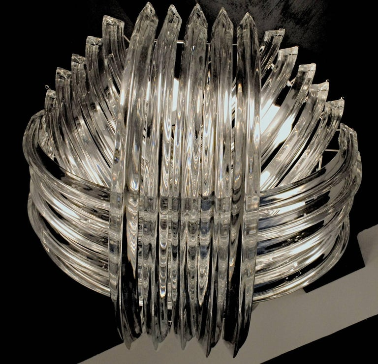 Hand-Crafted Curvati Murano Chandelier, Clear Crystal Triedri, New Hardware For Sale