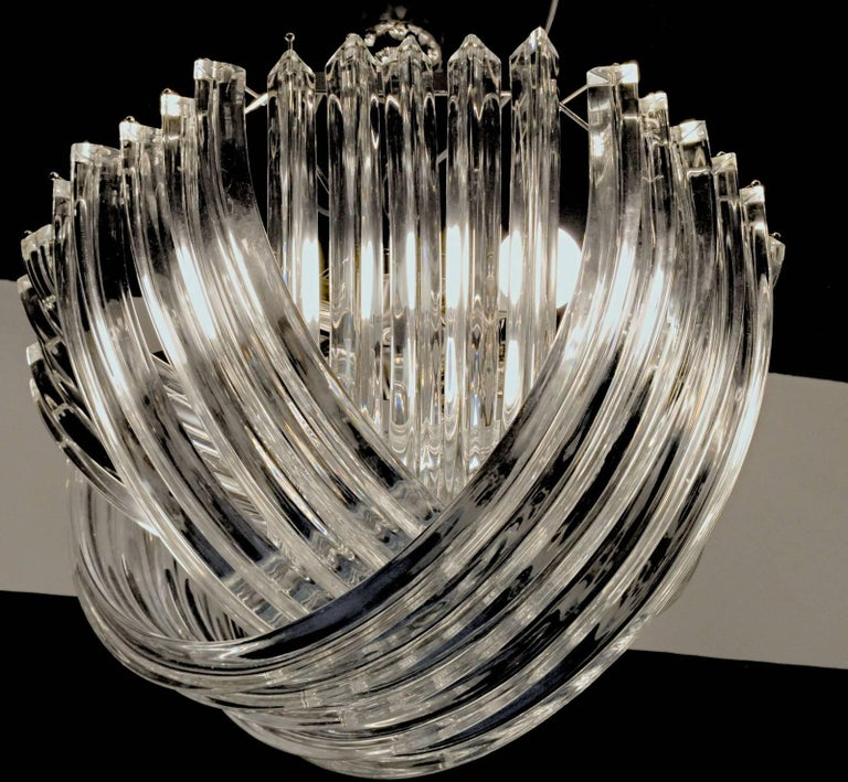 20th Century Curvati Murano Chandelier, Clear Crystal Triedri, New Hardware For Sale