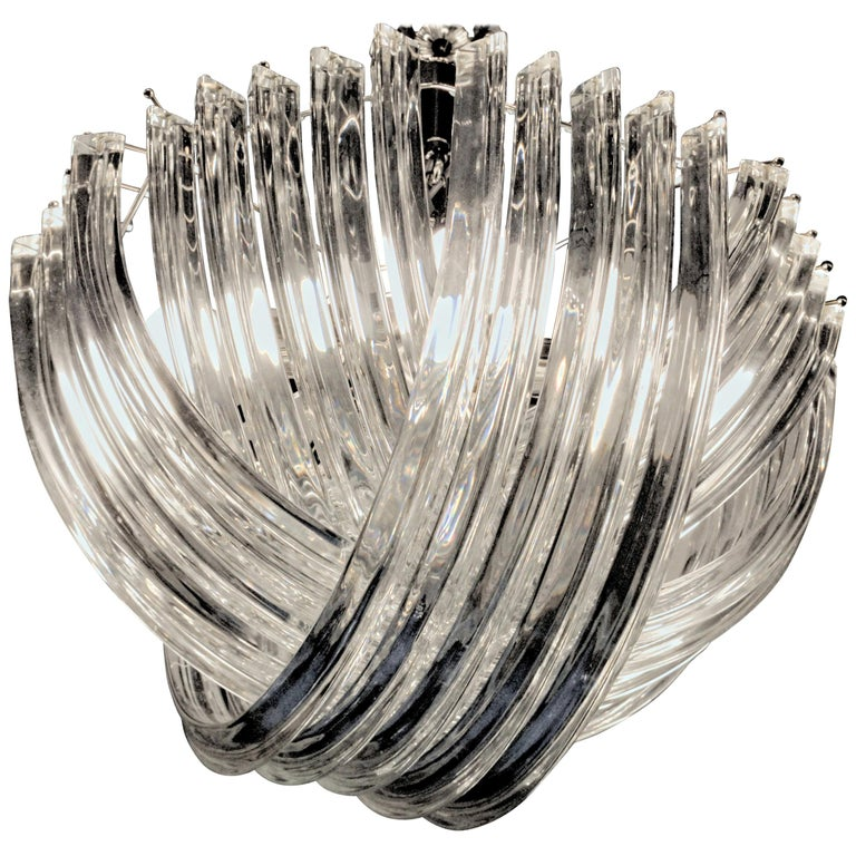 Curvati Murano Chandelier, Clear Crystal Triedri, New Hardware For Sale