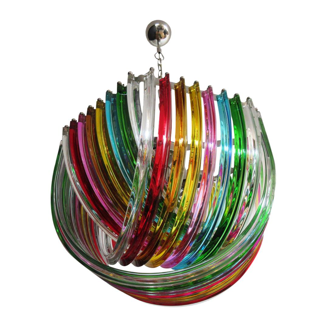 Curvati Rainbow Ceiling Light, Multicolored Triedri, 24 Murano Glasses