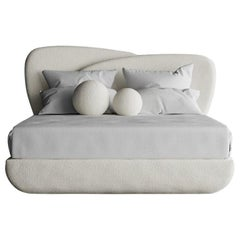 Curve Bed, Modern Layered Asymmetrical Bed in Cream Boucle