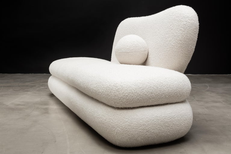 Contemporary Curve Chaise, Modern Layered Asymmetrical Chaise in Cream Boucle For Sale