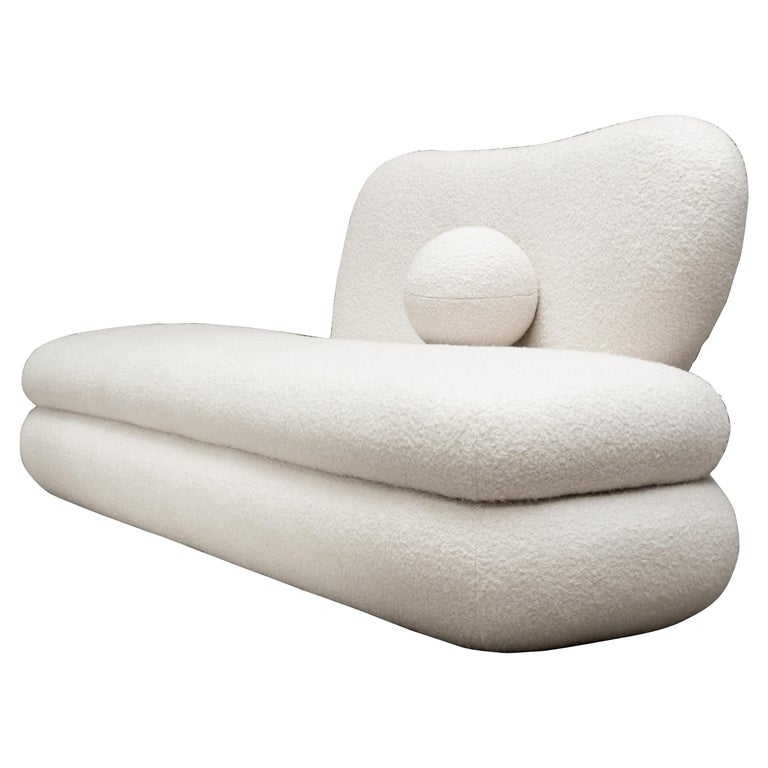 Curve Chaise, Modern Layered Asymmetrical Chaise in Cream Boucle For Sale