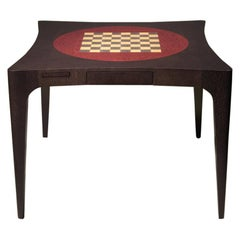 Curve Contemporary Card Table with Inserted Marketed Chessboard by Luísa Peixoto