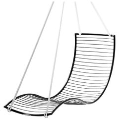 Modern Steel in/outdoor Curve Hanging Chair Black 21st Century Lounger Daybed