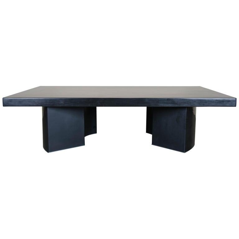 Curve Rectangular Cocktail Table, Black Lacquer, Hand Repoussé, Limited Edition For Sale