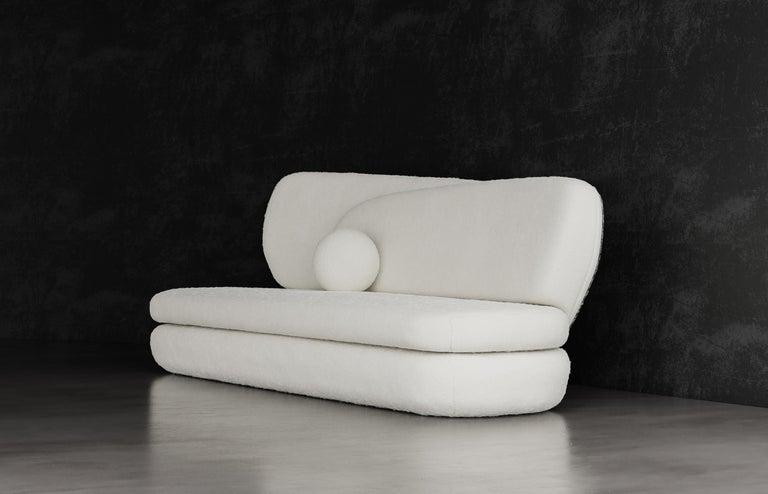 American Curve Sofa, Modern Layered Asymmetrical Sofa in Cream Boucle For Sale