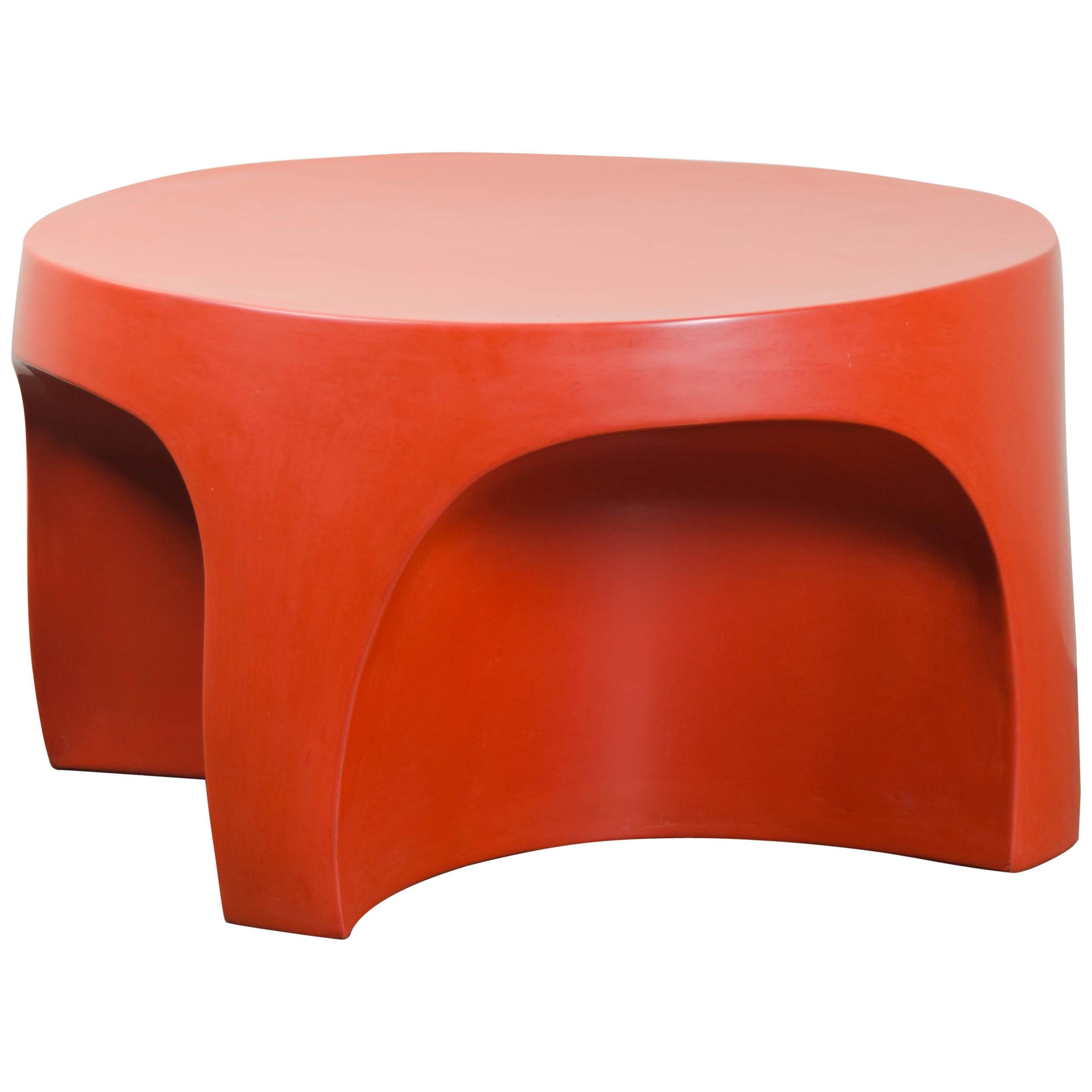 Curve Table, Coral Lacquer by Robert Kuo, Hand Repoussé, Limited Edition