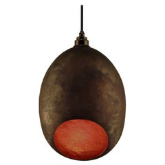 Curveaceous Contemporary Solid Copper Pendant Lamp in Natural Finish