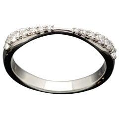 Curved 14 Karat White Gold Diamonds Band
