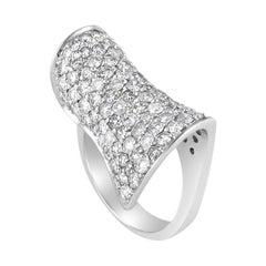 Curved 18 Karat White Gold 2.48 Carat Diamond Pave Ring
