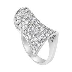 Curved 18 Karat White Gold Diamond Pave Ring CRD8535