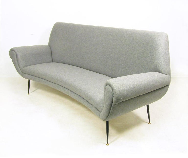 Mid-Century Modern Curved 1950s Italian Sofa by Gigi Radice For Sale
