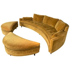 Curved 1950s Sofa and Ottomans by Harvey Probber