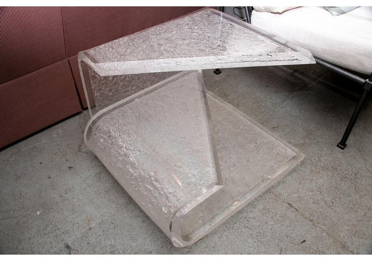 Curved and Frosted Lucite Side Or Coffee Table For Sale 1