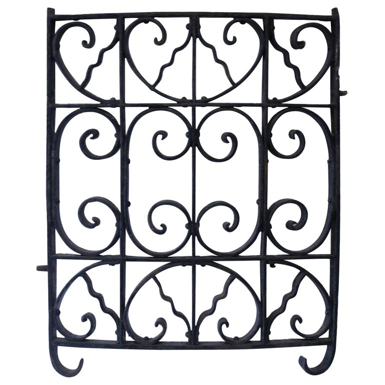 Curved Antique Victorian Iron Gate For Sale