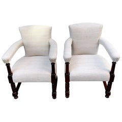 Curved Arm Pair of Upholstered Vintage Linen Club Chairs, Scotland, 19th Century