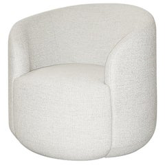 Curved Armchair 'Cottonflower' in White Fabric