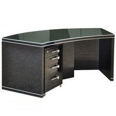 Gebogener Art Deco Schreibtisch in Schwarz mit Schöner Form