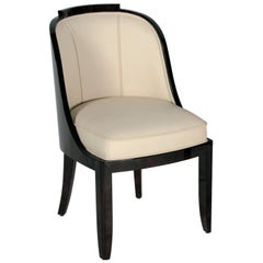 Curved Art Deco Leather or Velvet Dining Chair with Lacquered Wood Frame