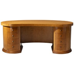 Curved Art Deco Partner Desk in Maple