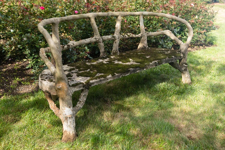 20th Century Curved Back Faux Bois Bench For Sale