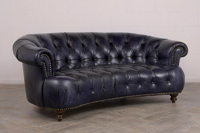 Curved Back Tufted Chesterfield Leather Sofa, circa 1970s ...