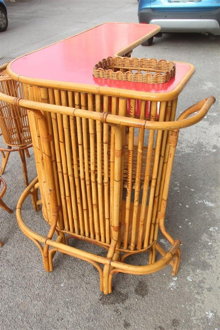 Bar Set Bonacina Style Midcentury Italian Design Red Garden Terrace Bamboo For Sale 5