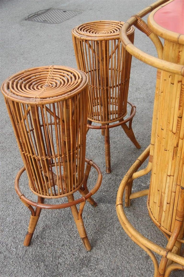 Bar Set Bonacina Style Midcentury Italian Design Red Garden Terrace Bamboo For Sale 6