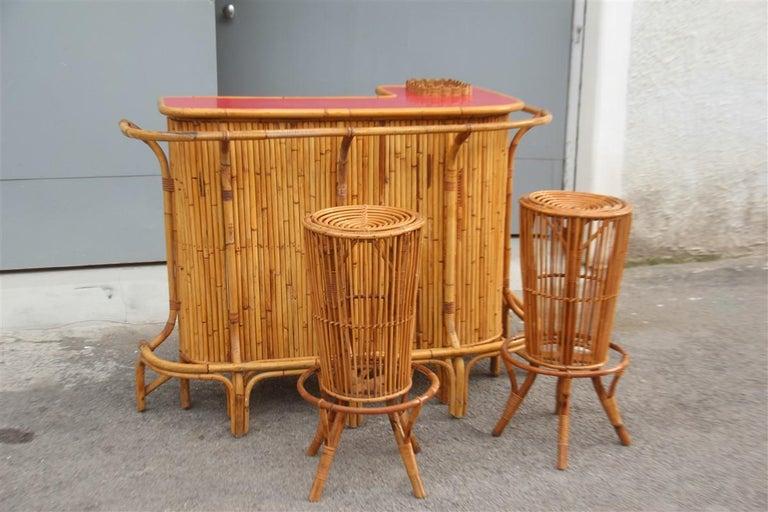 Bar Set Bonacina Style Midcentury Italian Design Red Garden Terrace Bamboo For Sale 7