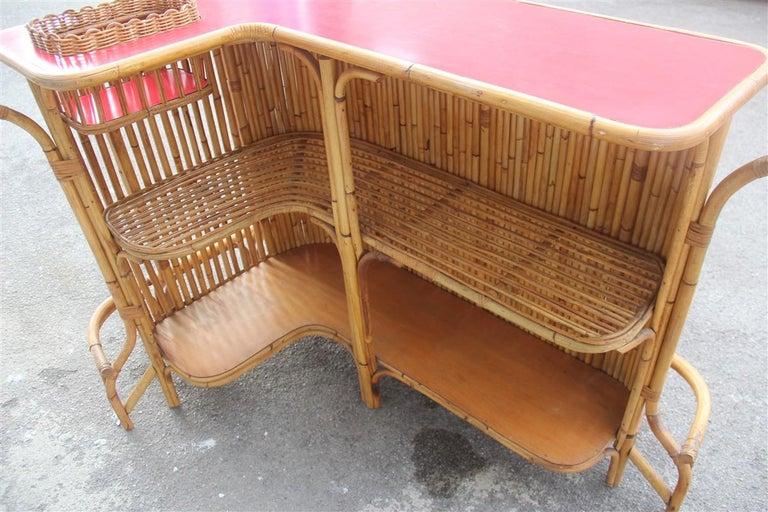Bar Set Bonacina Style Midcentury Italian Design Red Garden Terrace Bamboo For Sale 9