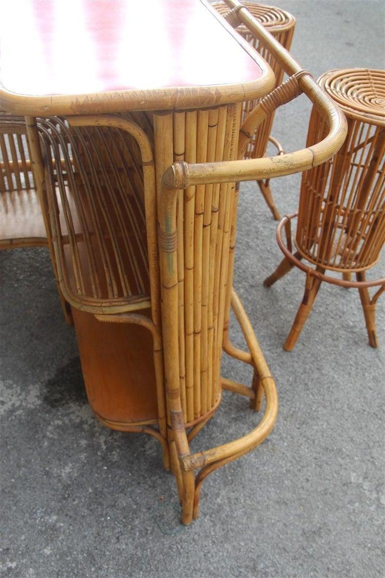 Bar Set Bonacina Style Midcentury Italian Design Red Garden Terrace Bamboo For Sale 10