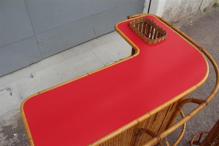 Bar Set Bonacina Style Midcentury Italian Design Red Garden Terrace Bamboo For Sale 11