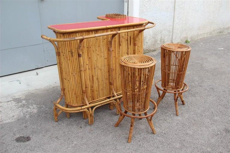Bar Set Bonacina Style Midcentury Italian Design Red Garden Terrace Bamboo For Sale 12