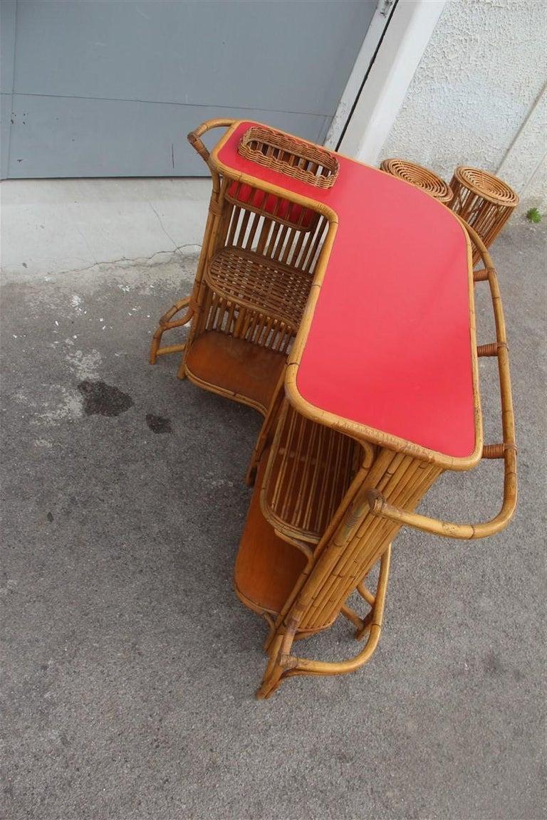 Mid-Century Modern Bar Set Bonacina Style Midcentury Italian Design Red Garden Terrace Bamboo For Sale