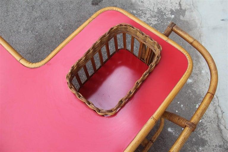 Mid-20th Century Bar Set Bonacina Style Midcentury Italian Design Red Garden Terrace Bamboo For Sale
