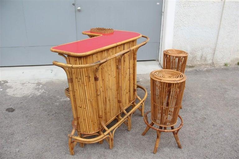 Bar Set Bonacina Style Midcentury Italian Design Red Garden Terrace Bamboo For Sale 1