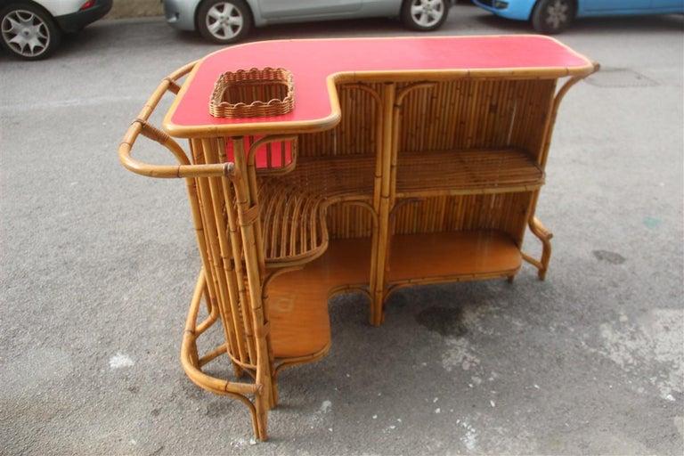Bar Set Bonacina Style Midcentury Italian Design Red Garden Terrace Bamboo For Sale 2