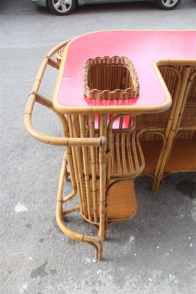 Bar Set Bonacina Style Midcentury Italian Design Red Garden Terrace Bamboo For Sale 3