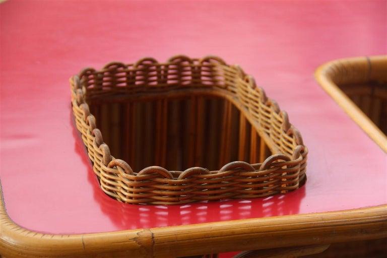Bar Set Bonacina Style Midcentury Italian Design Red Garden Terrace Bamboo For Sale 4