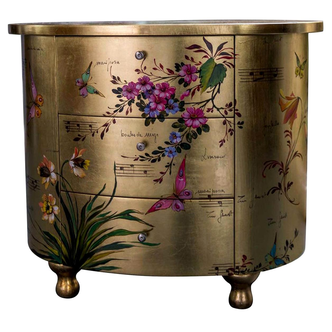 Curved Bedside Hand Painted Table