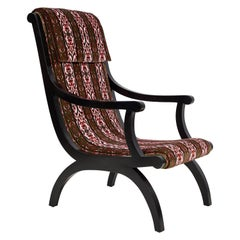 Curved Black Framed Tall Arm Chair Upholstered in Velvet