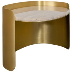 Curved Brass Oval Side Table