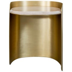 Curved Brass Side Table